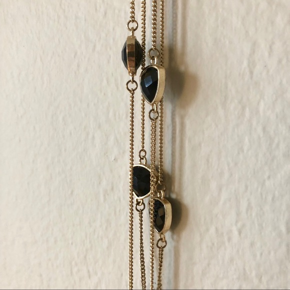Jewelry - 🔅2/$10 Gold Double Necklace w/ Black Stone Detail